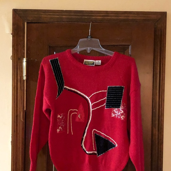 anytime Glitz Sweaters - Vintage embellished sweater